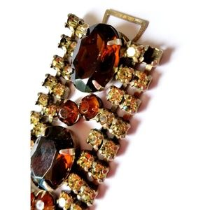 Antique Jewelry - Vintage Costume Jewelry Bracelet Amber Champagne